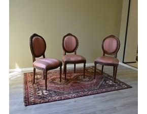 Sedie modello Luigi XVI in legno massello di Produzione Artigianale. Le sedie sono rifinite con lucidatura eseguita a mano e con rivestimento di seduta e schienale in tessuto. Scontate del -67%. Offerta Outlet Mobilgross.