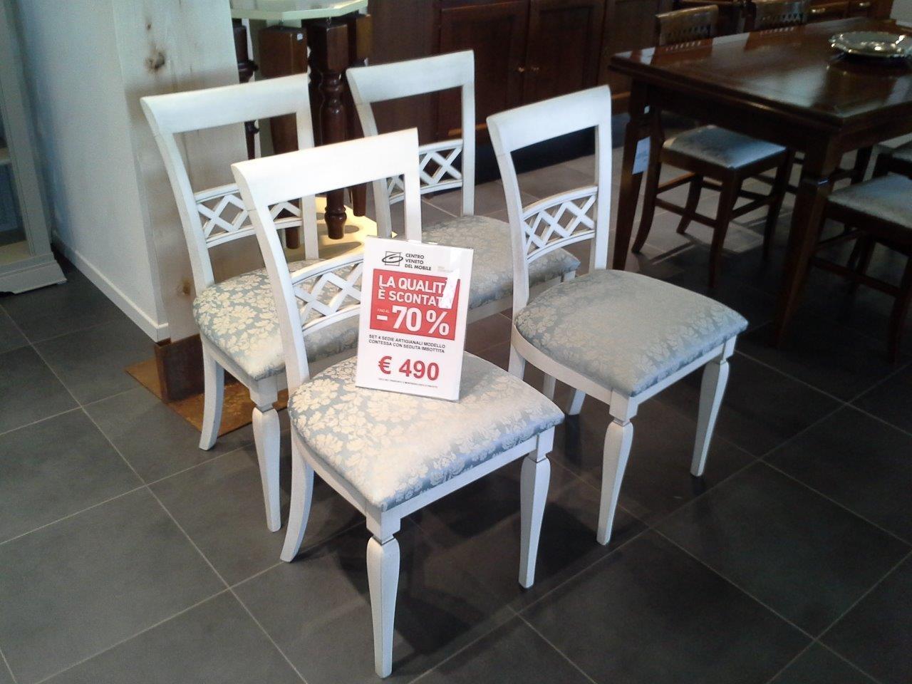 set 4 sedie artigianali classiche in legno con seduta