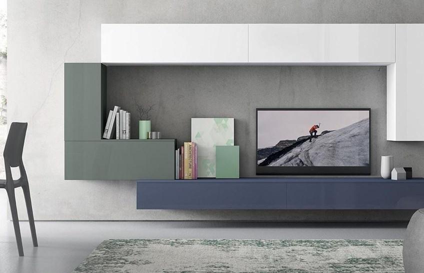 Soggiorno soggiorno living per tv in laccato luido porta - Mobili sospesi soggiorno ...
