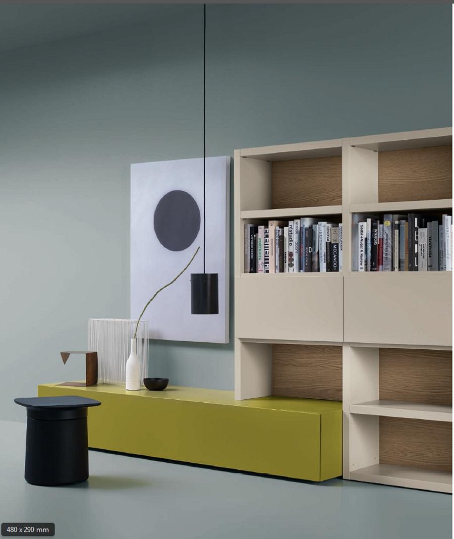 Soggiorno parete attrezzata design legno laccato scontato for Design scontato