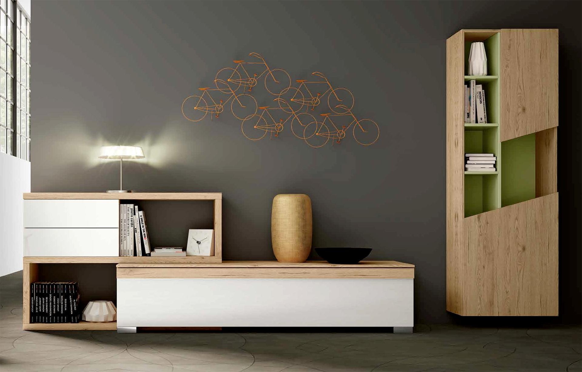 Cassettiera e libreria da soggiorno, con finitura in legno, nuove, scontate -...