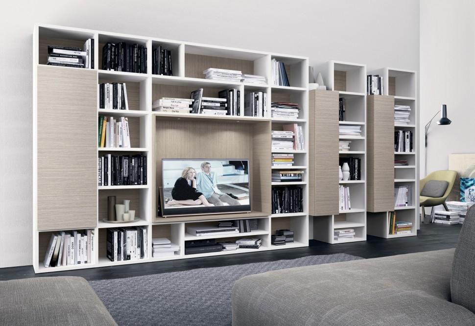 Pin Arredo Soggiorno Moderno Mobile Laccato Lucido Bianco Porta Tv In ...