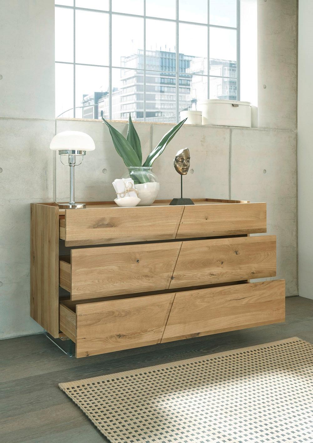 Cassettiera moderna 3 cassetti legno massello rovere for Cassettiera legno