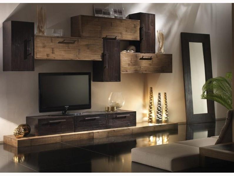 Composizione convenienza soggiorno miele noce for Soggiorni moderni in pietra