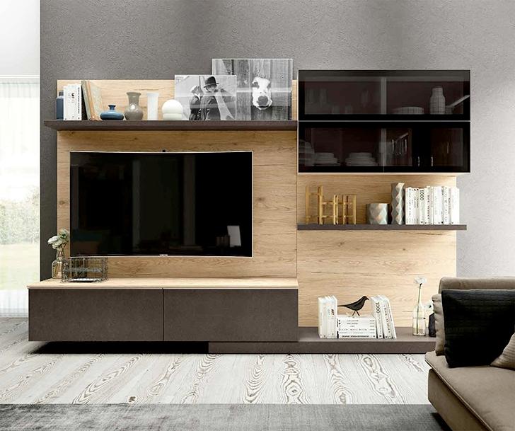 Composizione per soggiorno in finitura legno nuova a for Composizione soggiorno