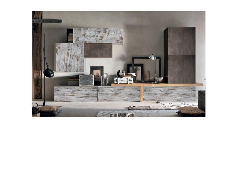 composizione soggiorno in legno vintage white e legno essenza bronzo