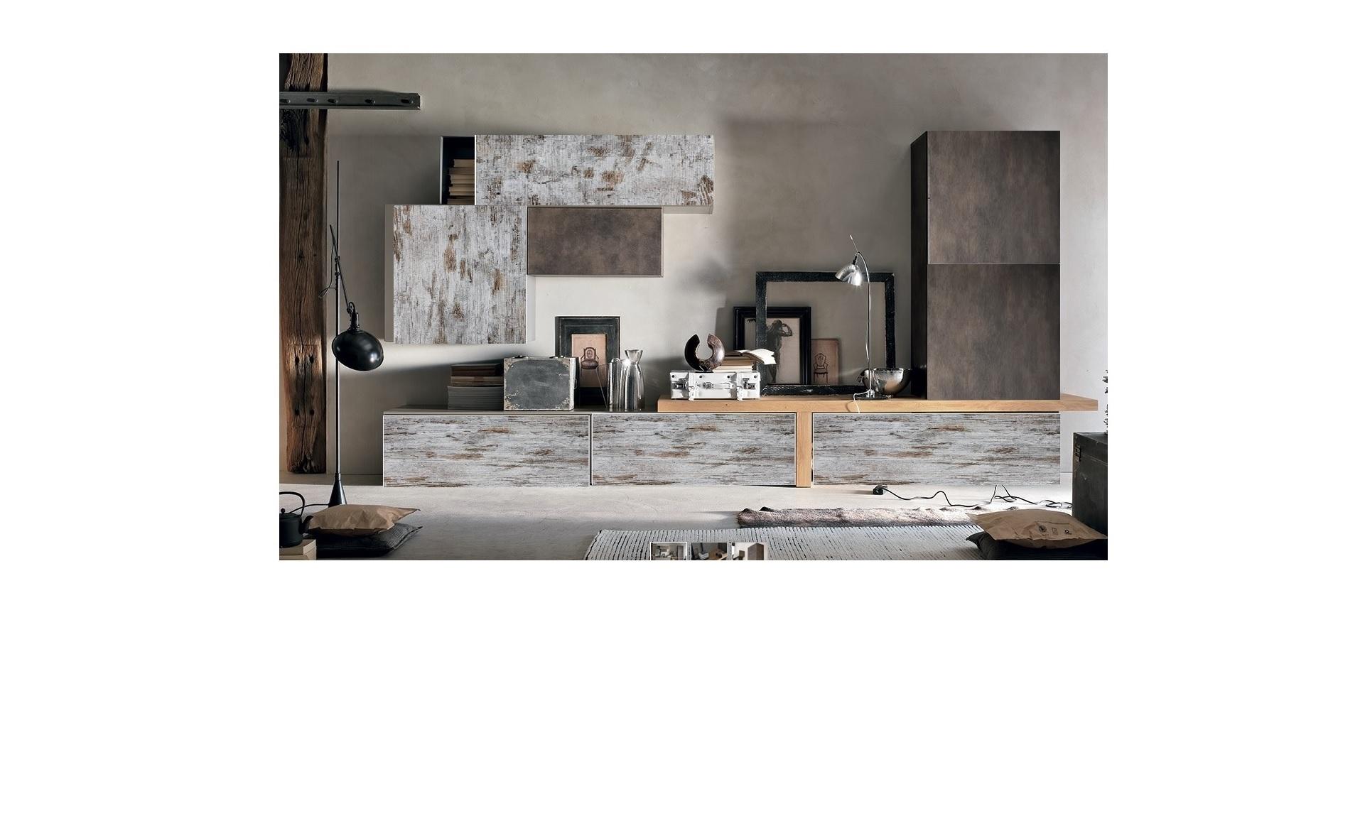 Composizione soggiorno in legno vintage white e legno - Soggiorno in legno ...