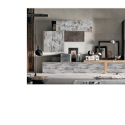 Composizione soggiorno parete attrezzata in legno essenza bronzo e basi a ribalta in legno vintage