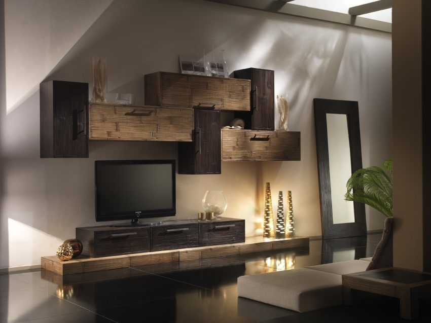 Composizione soggiorno miele black soggiorni a prezzi for Pareti attrezzate mondo convenienza