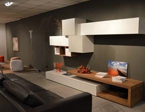 Composizione mobile soggiorno SAN GIACOMO design modello LAMPO in finitura laccato opaco color bianco articoe grigio corda . Offerta Outlet Moobilgross. Scontata del 30%