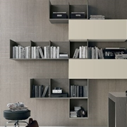 Composizione Tomasella modello A003. La composizione a giorno è sospesa e grazie al suo design moderno dà vita ad un arredo unico ed elegante.