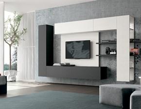 Composizione Tomasella modello A019. La composizione è composta da un pensile con delle mensole passanti. Ciò renderà unico il vostro soggiorno.