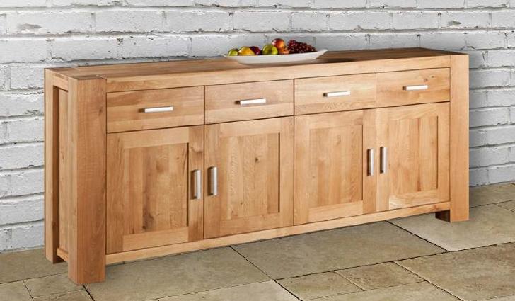 Credenza 4 ante 4 cassetti in legno massello di rovere - Mobili soggiorno legno massello ...
