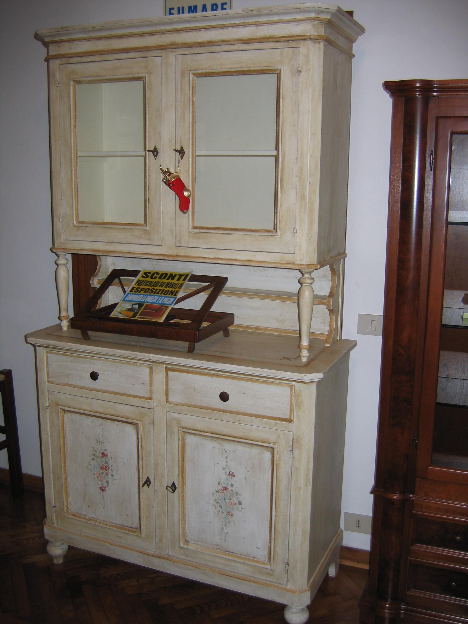 Soggiorno credenza decorata a mano base e alzata vetrinetta legno ...