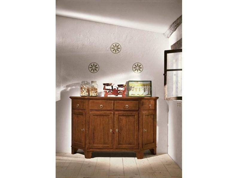 Credenza Per Cucina In Legno : Credenza base scantonata in legno con cassetti e ante