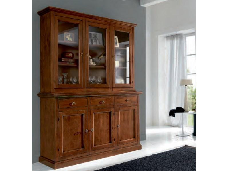 Credenza con vetrinetta alzata Artigianale in legno Massello a prezzo Outlet