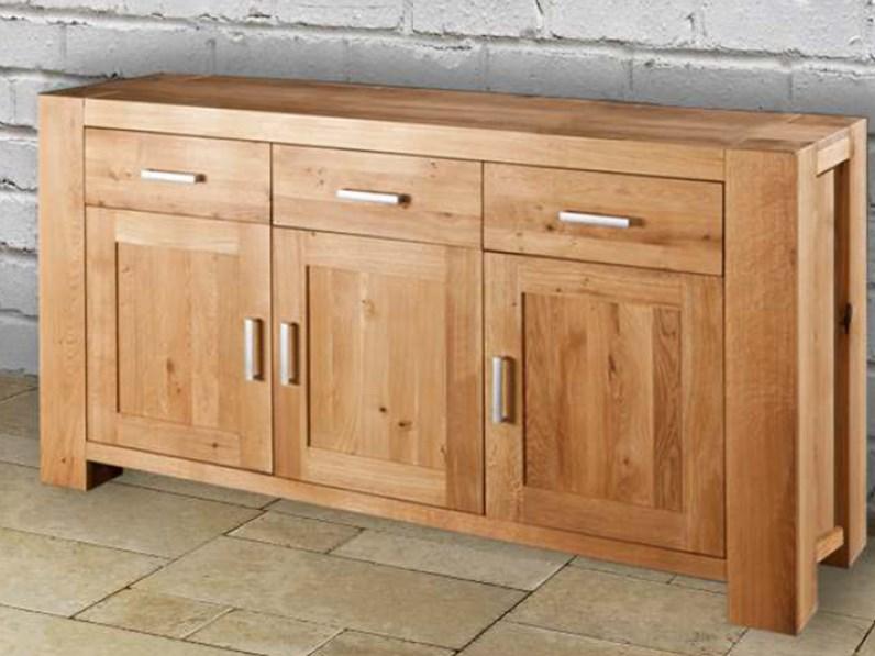 Credenza cucina soggiorno 3 ante 3 cassetti in legno - Mobili in rovere naturale ...