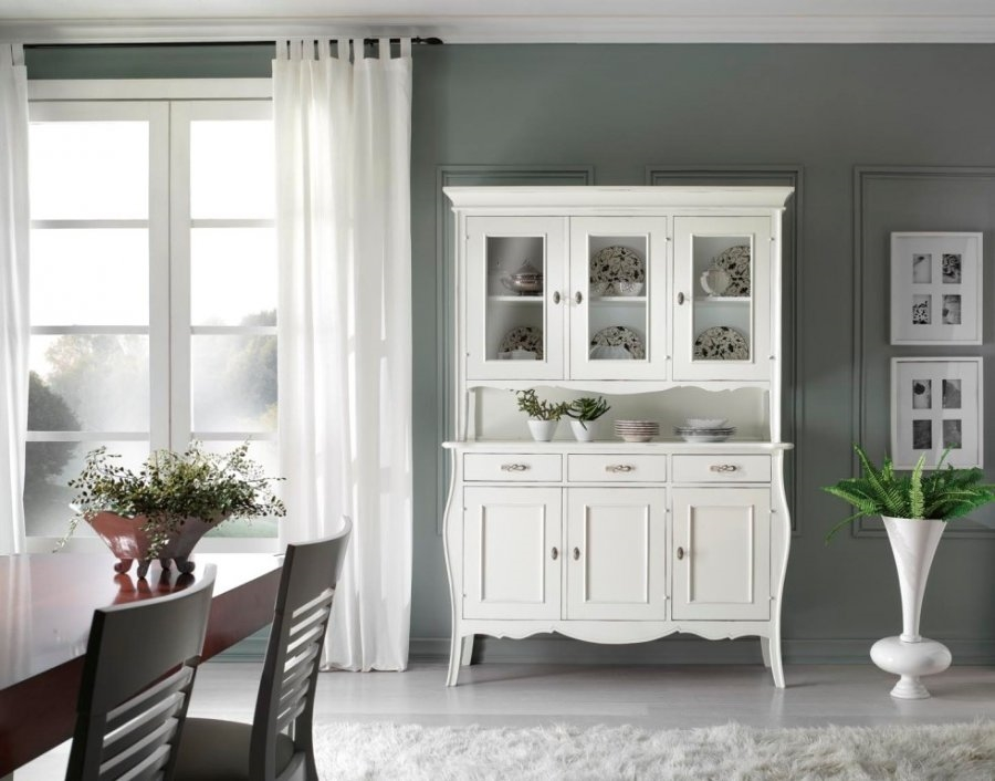 Credenza in legno con vetrinetta colore avorio soggiorni - Porte colore avorio ...