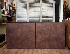 credenza  minimal moderna seta bronzo in offerta no maniglie modello essenziale in colore noce setato brown