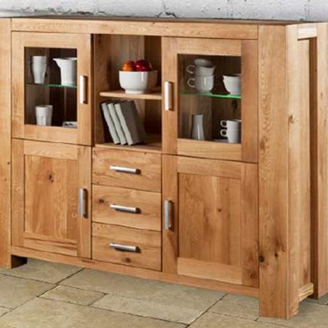 Credenza moderna in legno massello di rovere 4 ante 3 cassetti ...
