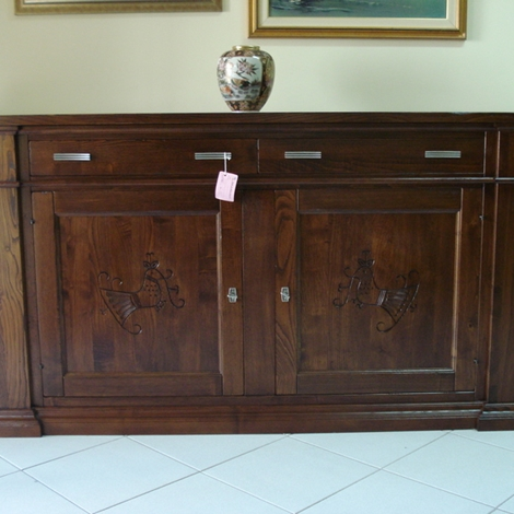 Credenzone 2 porte con intarsio in legno massello di - Mobili in castagno massello ...
