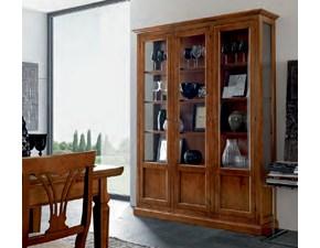 Cristalliera 3 ante legno massello Artigianale e vetro Offerta Outlet