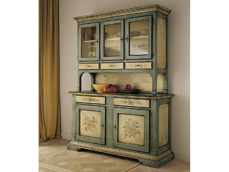 Soggiorno Cristalliera stile veneziano laccata con decori scontato ...