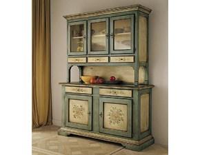 Soggiorno Cristalliera stile veneziano laccata con decori scontato del -30 %