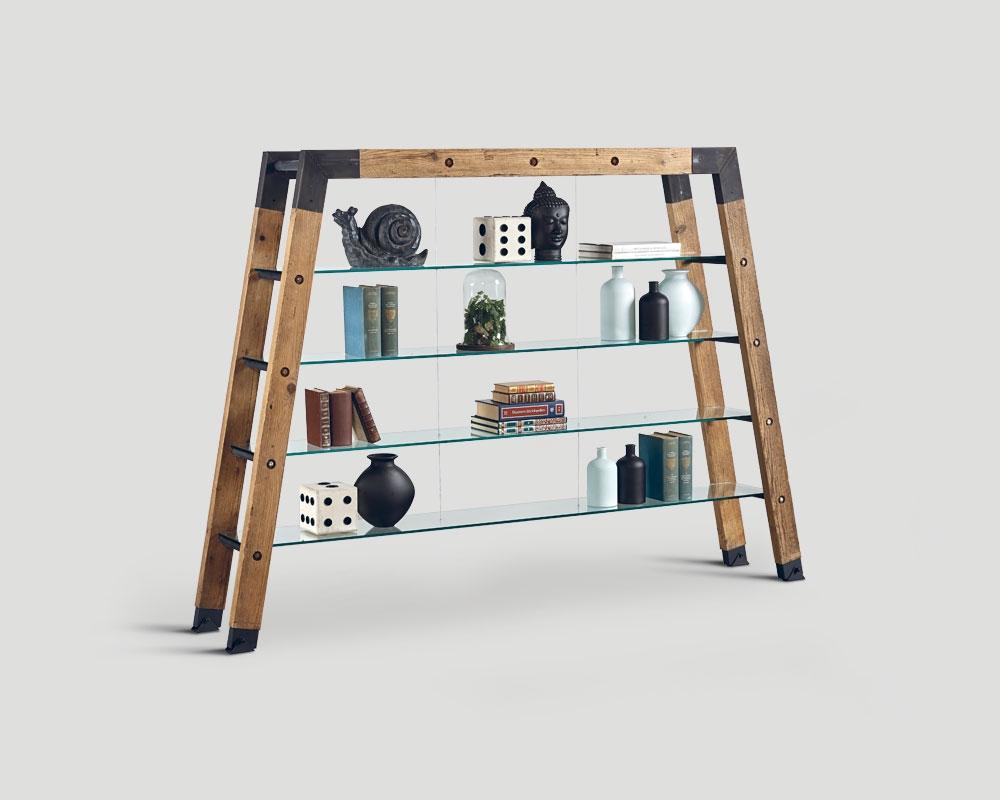 Dialma brown soggiorno libreria legno vetro articolo db for Libreria soggiorno moderno