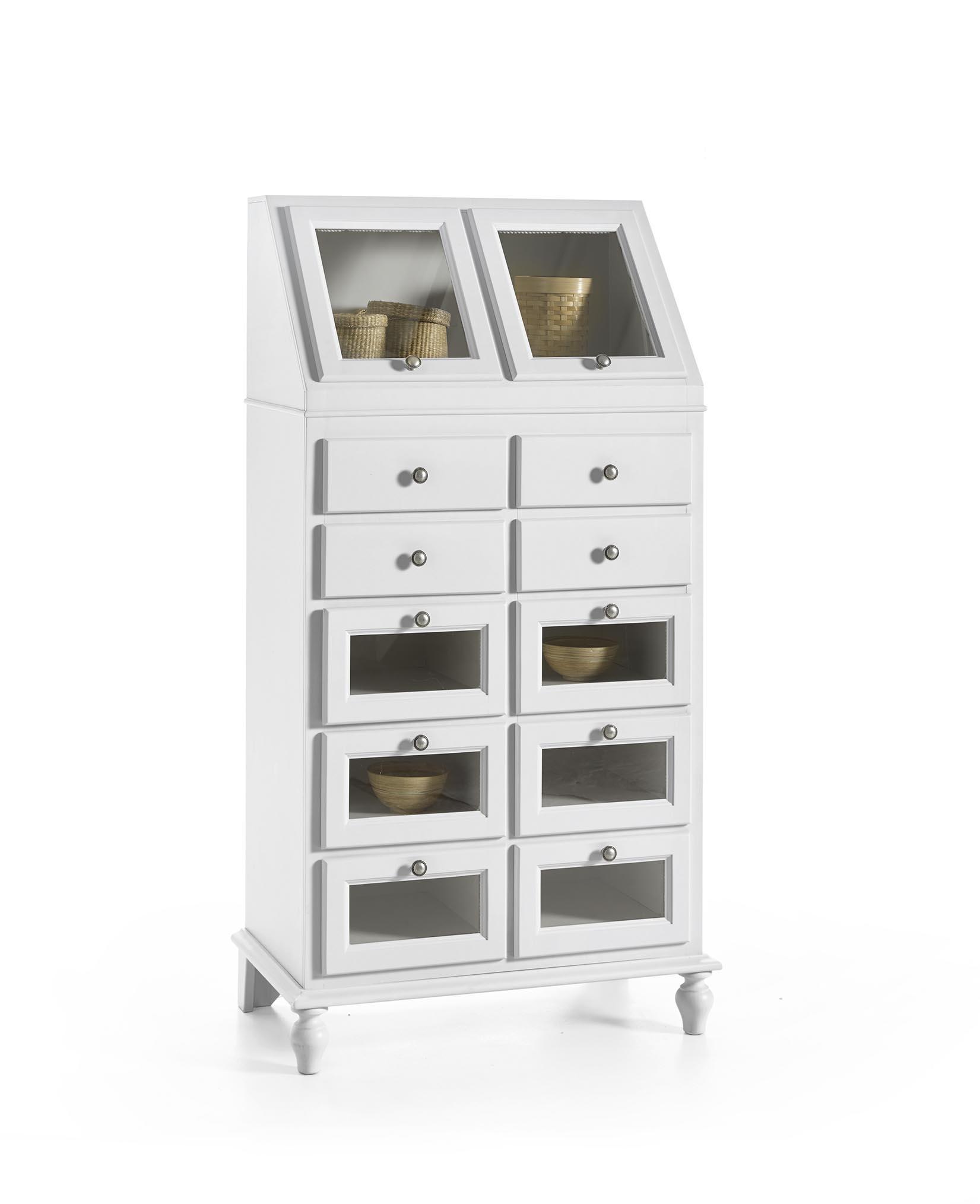 Dispensa con cassetti in legno mobile artigianale - Mobile con cassetti per cucina ...