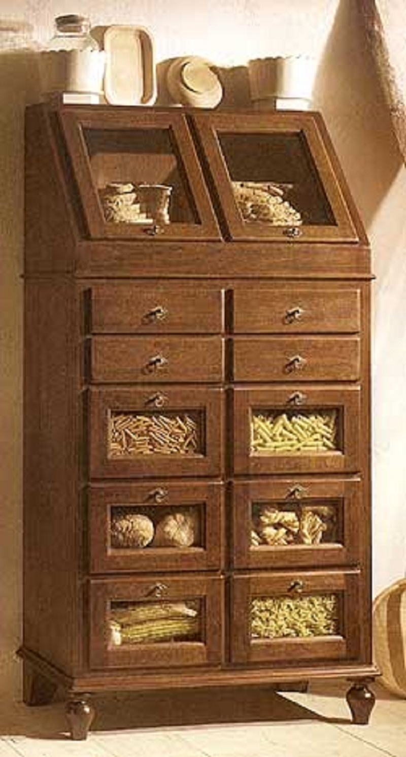 Dispensa in legno con cassettini in finitura bianco o noce for Dispensa legno
