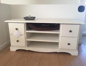 Essenza porta tv in laccato bianco anticato