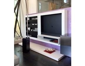 Composizione Feg modello Headline-parete soggiorno Laccato Opaco Bianco e Nero  Soggiorno completo di Design.