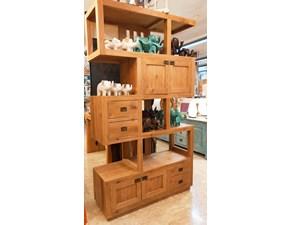 Libreria Artigianale in legno Etnica-moderna teak massello a prezzo scontato