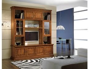 Libreria Artigianale in legno Soggiorno classico in legno con vetrine e vano porta tv mottes mobili a prezzo scontato
