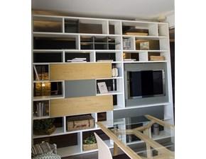 Libreria bifacciale SAN GIACOMO Modo in rovere e laccato opaco bianco/muschio