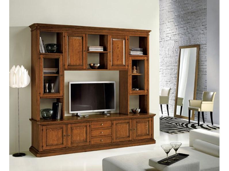 libreria classica in legno con vetrinette e vano porta tv.