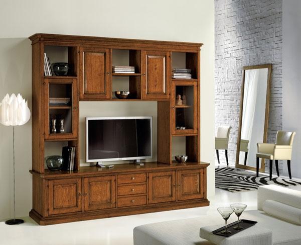 Libreria classica in legno con vetrinette e vano porta tv for Costruire porta tv