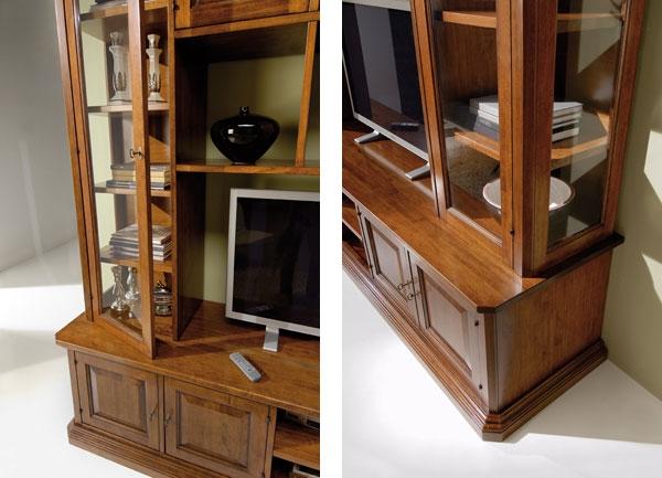 Libreria classica in legno con vetrinette e vano porta tv - Libreria con porta ...