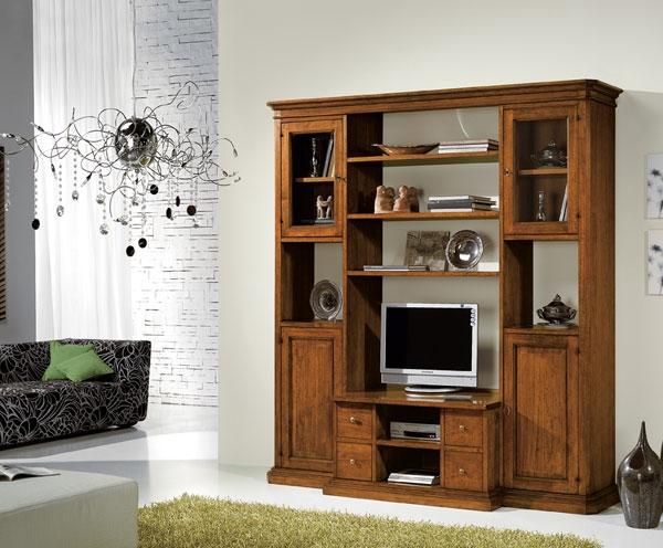 Libreria classica in legno mobile porta televisione soggiorni a prezzi scontati - Soggiorni in legno ...