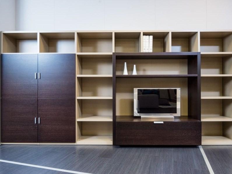 Libreria con vano porta tv in rovere moro e laccato tortora opaco