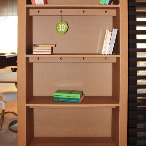 Libreria in cartone Kubedesign scontata del 30%