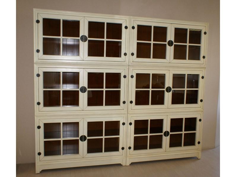 Libreria domino legno laccato bianco opaco di decor for Minelle arredamenti