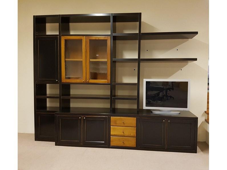 Libreria ekos legno laccato moka consumato di decor legend for Minelle arredamenti