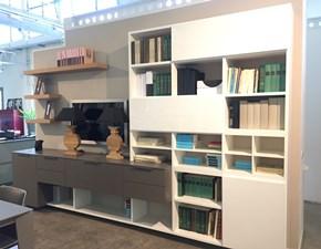 Libreria Falma italia in laccato opaco e lucido bianco, poro aperto grigio tortora in offerta