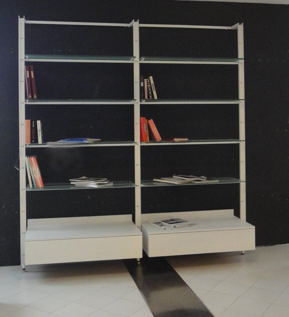 Desalto soggiorno libreria con cassetti scontato del 60 for Libreria acciaio e vetro