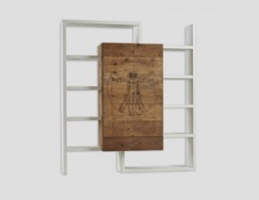 Libreria in stile design Dialma brown in legno Offerta Outlet