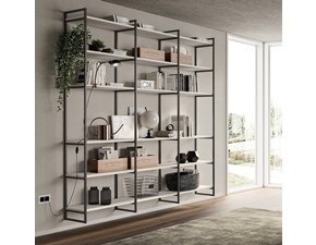 Libreria in stile design Scavolini in laminato materico Offerta Outlet