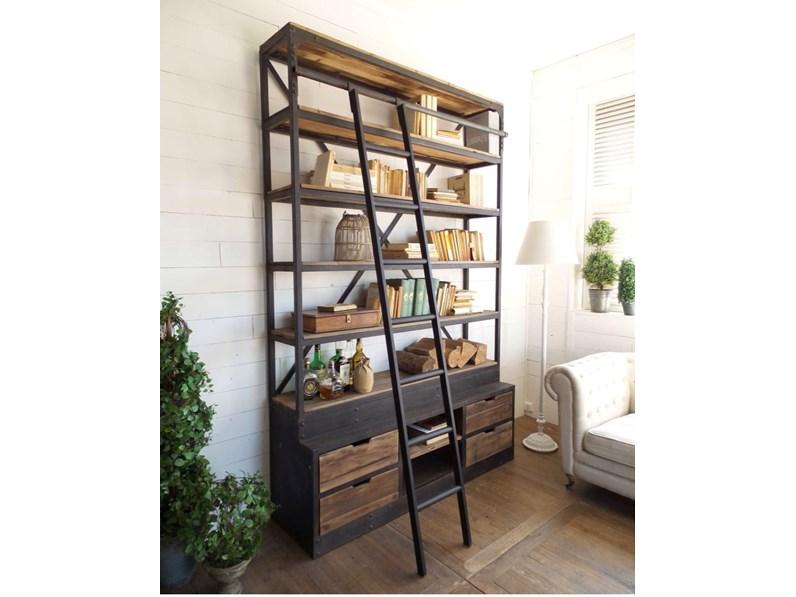 libreria industrial con scala legno masello e ferro in offerta ...