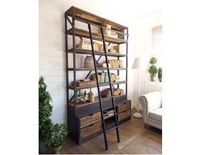 libreria industrial con scala legno masello e ferro in offerta scontatissima outlet offerta outlet 160  x 45 x h 244